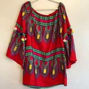 Boohoo Red Top with Pom Poms Geometric Patterns